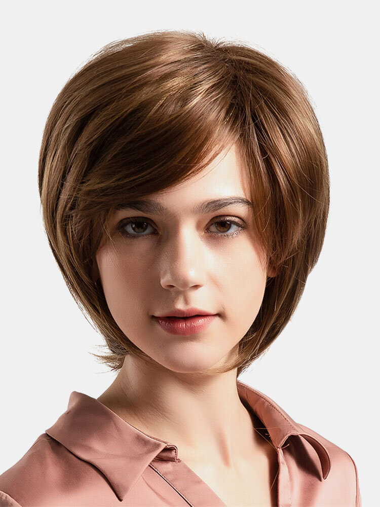 Short Synthetic Wigs Brown Straight High Temperature Wire Chemical Fiber Wigs 10 Inch