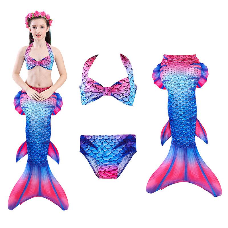 nuevo concepto 7ecd9 f799e Bikini de traje de baño de sirena para niñas de 3 piezas para 4-13 años