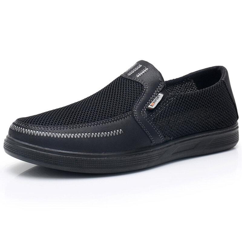 Hommes en cuir maille épissage respirant Slip On Soft Chaussures de sport