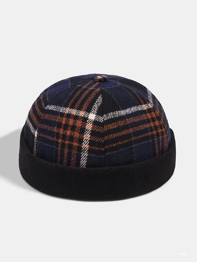 Collrown Men&Womenカジュアルパーソナリティストライプパターンつばのないビーニースカルハット家主の帽子