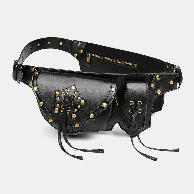 Women Punk Multi-carry Large Capacity Waist Pack Chest Bag Sling Bag