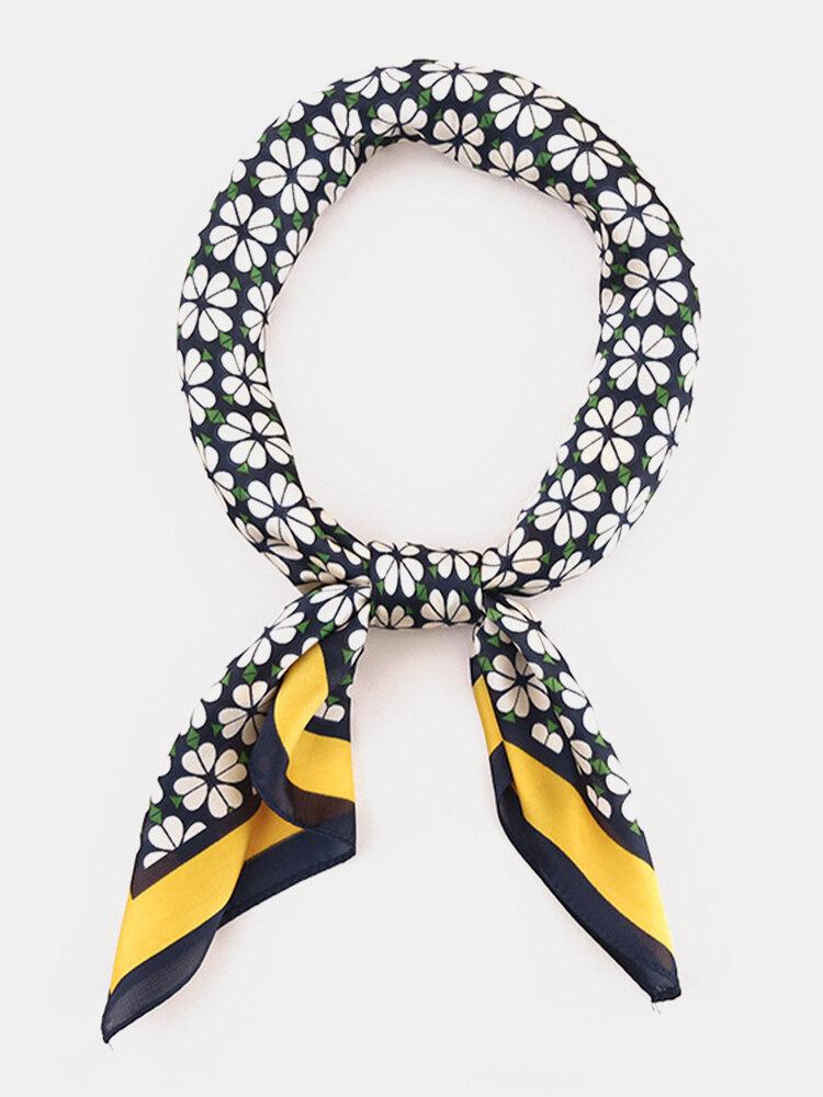 Women Silk Floral Pattern Printed Lightweight Headband Square Scarf