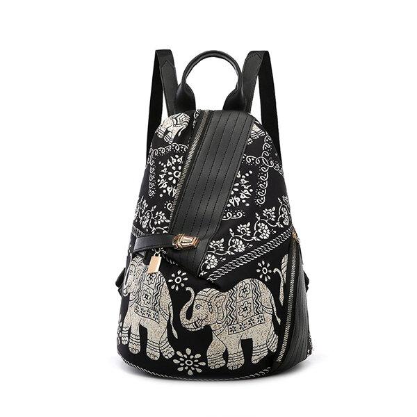 女性の盗難防止バックパック財布レジャープリント多機能旅行ショルダーバッグ