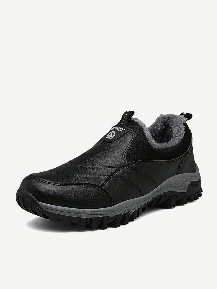 Men Outdoor Waterproof Slip Resistant Warm Lined Slip On Hiking Shoes