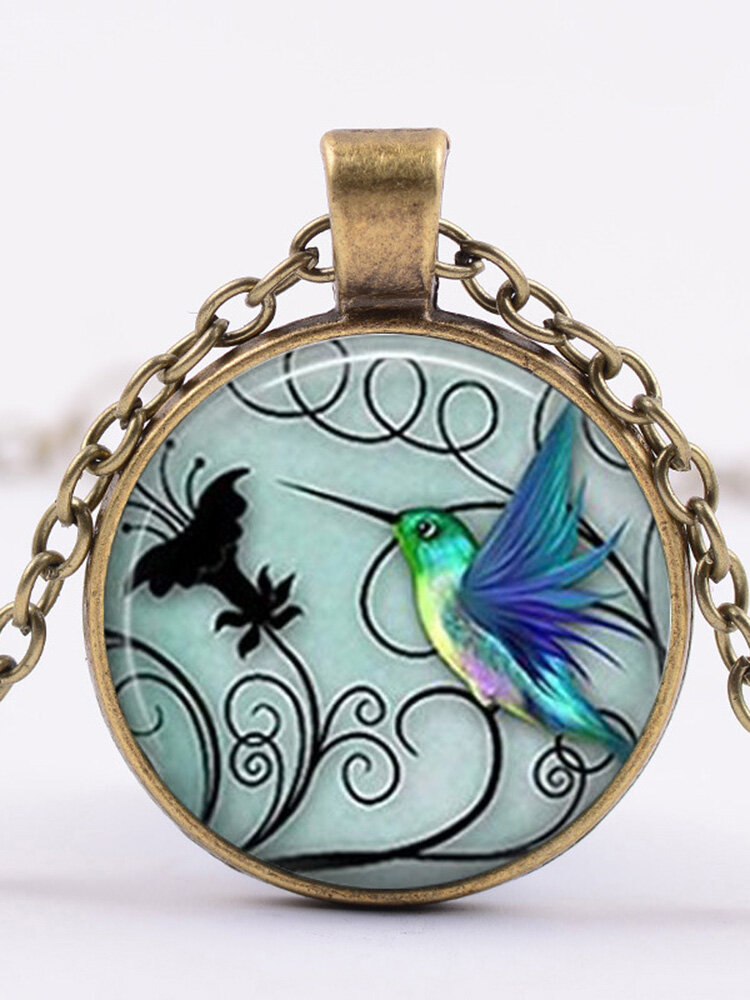 Fashion Creative Blue Hummingbird Pendant Necklace Round Glass Women Necklace Jewelry Gifts