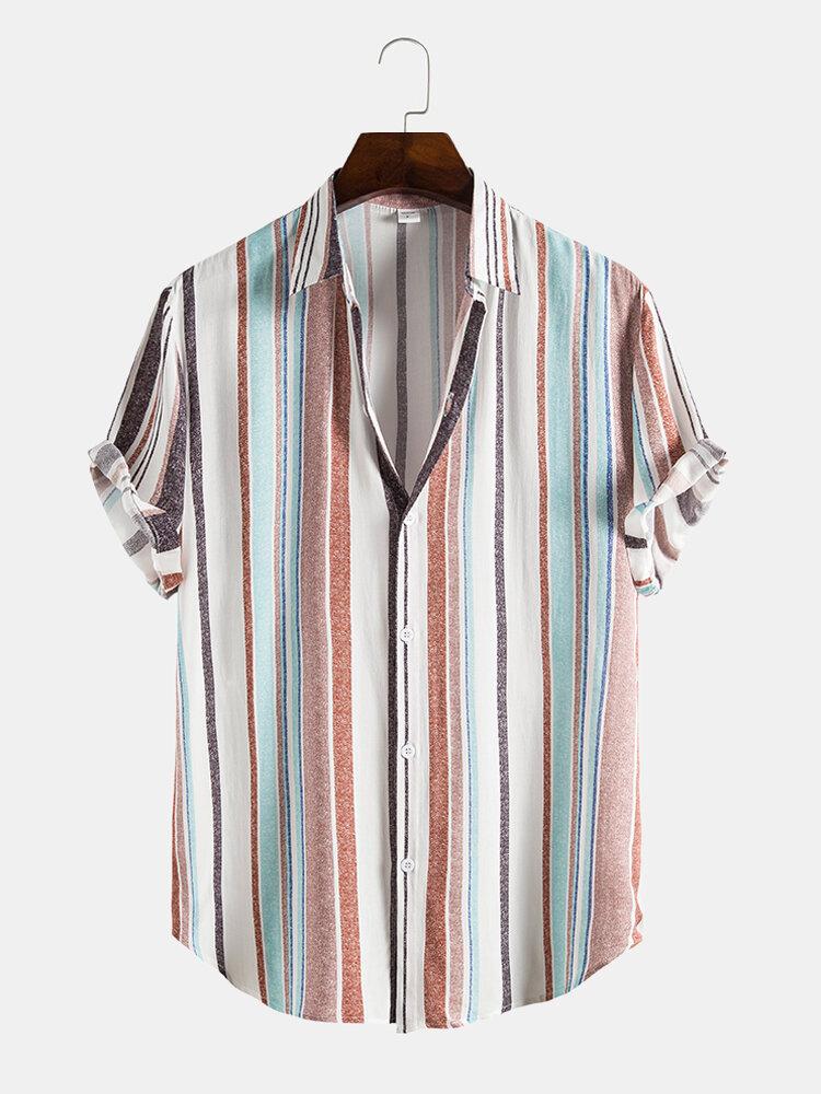 Mens Stripe Print Short Sleeve Lapel Regular Hem Preppy Shirt