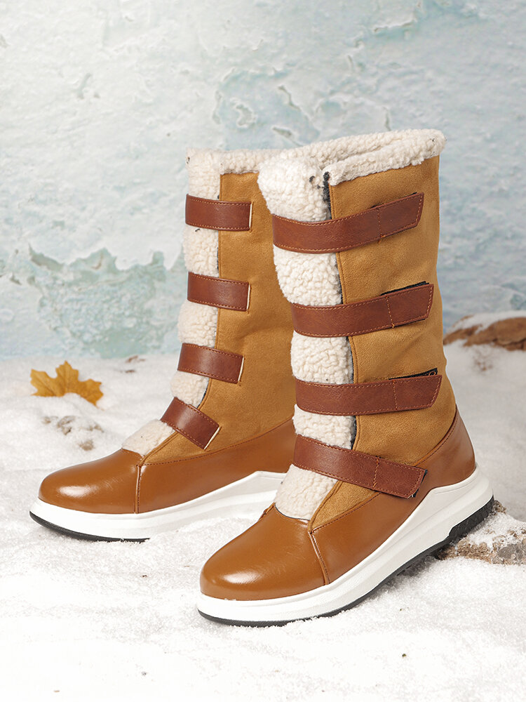 Plus Size Women Warm Lining Hook Loop Thick Sole Mid Calf Snow Boots