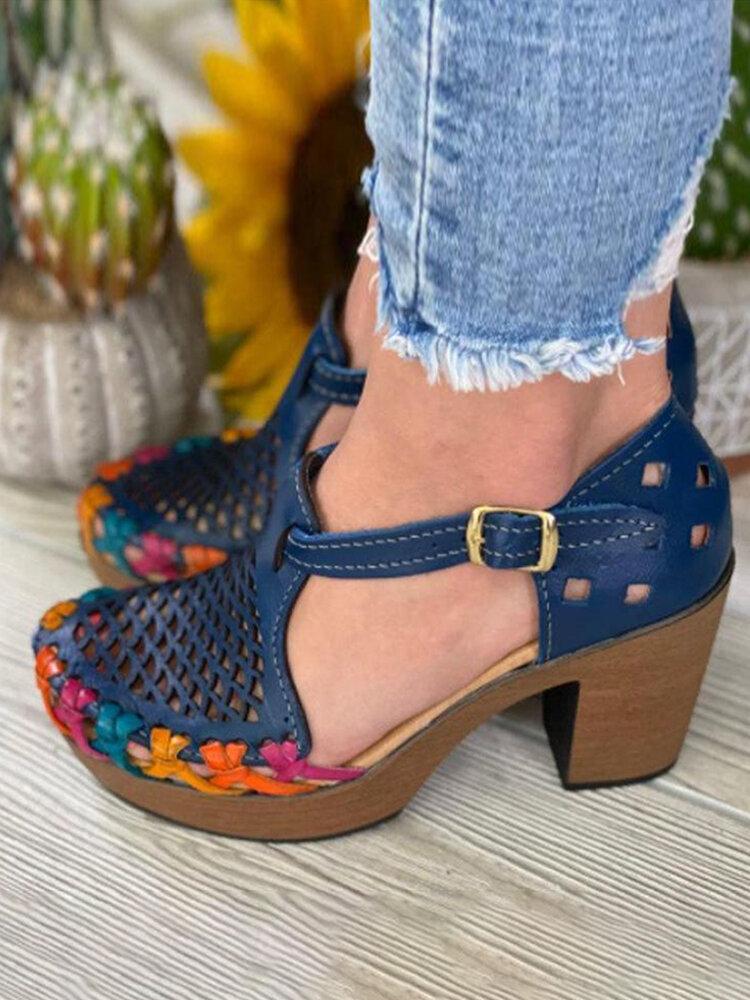 Sandales à talons à boucle à bout fermé creux respirant rétro grande taille pour femmes