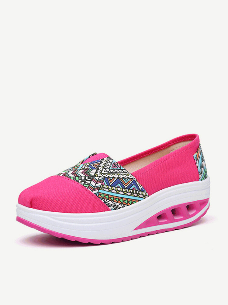 Pattern Print Comfortable Slip On Rocker Sole Shake Women Shoes