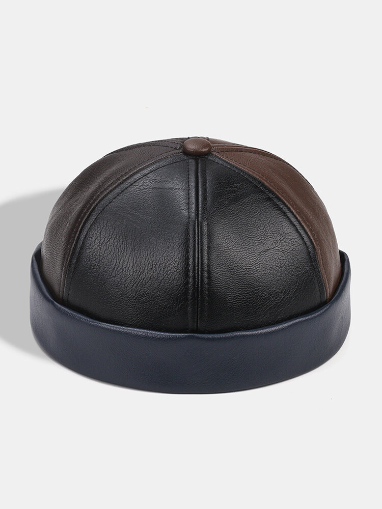 Collrown Men & Women Faux Leather Patchwork Color Retro Classical Color Brimless Beanie Landlord Hat Skull Hat