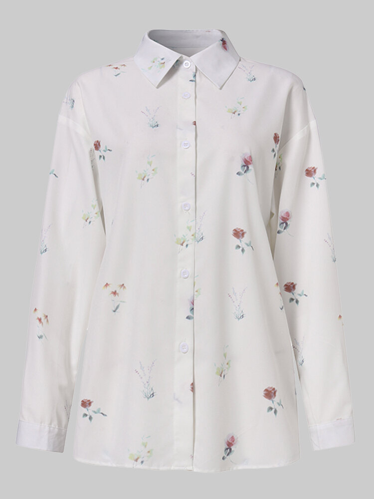 Floral Print Button Lapel Long Sleeve Casual Shirt For Women