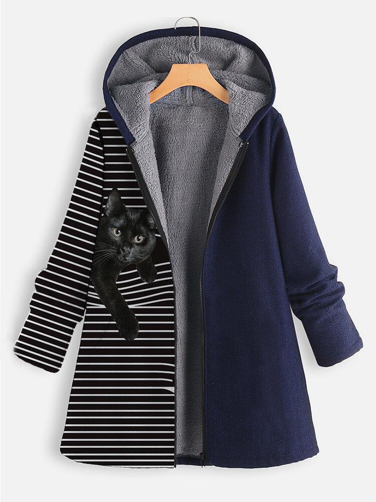 Cat Striped Print Patchwork Vintage Hooded Plus Size Coat