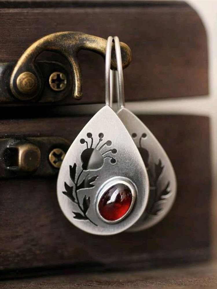 Vintage Drop-shape Hollow Flowers Inlaid Red Crystal Alloy Earrings