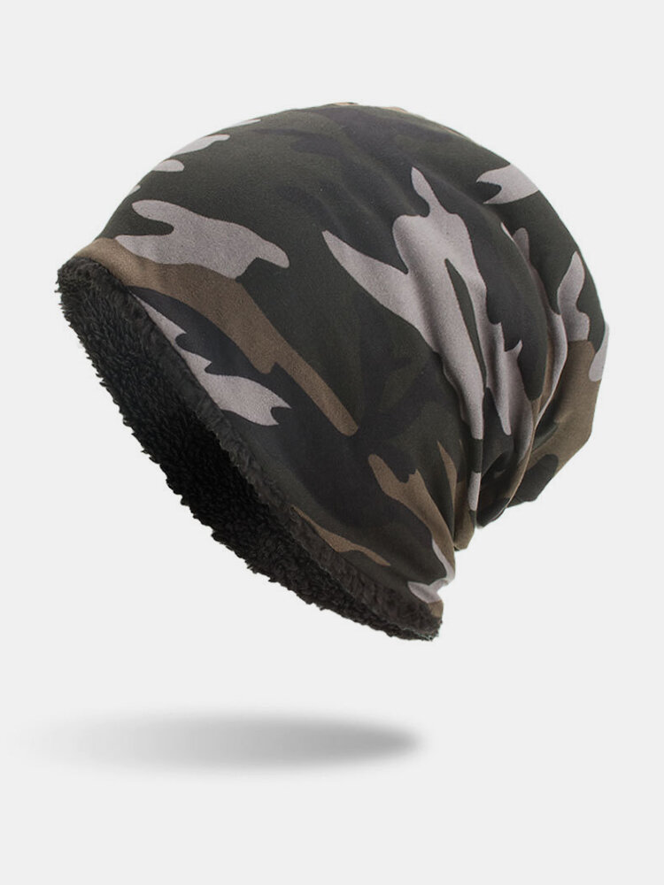 Mens Camouflage Cotton Velvet Knitted Hat Warm Good Elastic Hat Winter Outdoor Casual Beanie