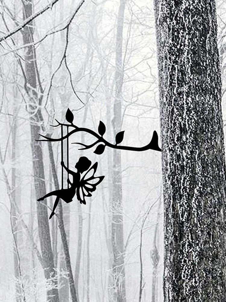 1 PC 2D jardin fée décoration pieu métal art elfe silhouette insertion ornement pour extérieur fée se balançant sur la branche Hogard