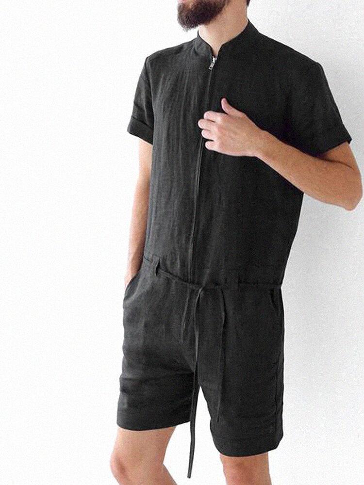 Mens 100% Cotton Solid Zipper Front Short Sleeve Belted Jumpsuit