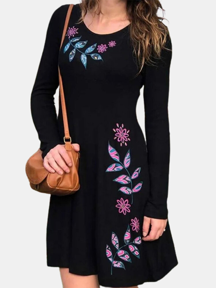 Vintage Floral Leave Print Long Sleeves Casual Dress for Women