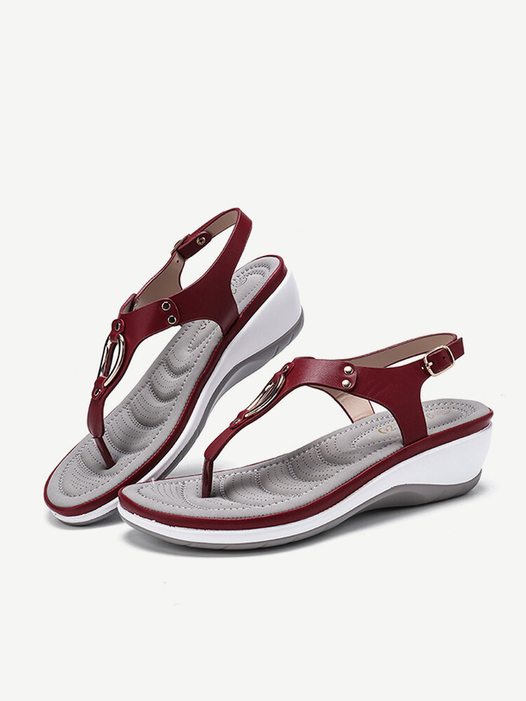 Women Metal Soft Sole Clip Toe Breathable Buckle Wedge Sandals