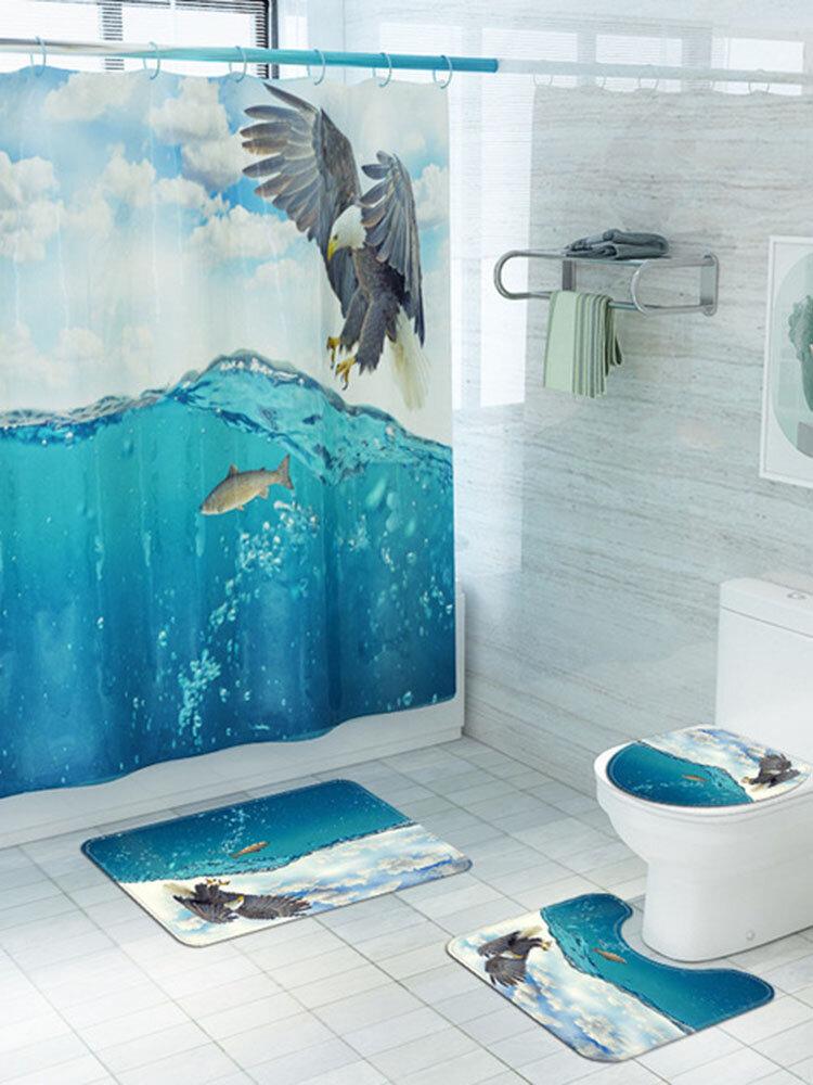Animal Eagle Printed Mat Four-Piece Bathroom Anti-Slip Carpet Set