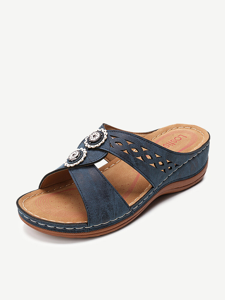 LOSTISY Hollow Out Opened Toe Beach Wedges Casual Sandals