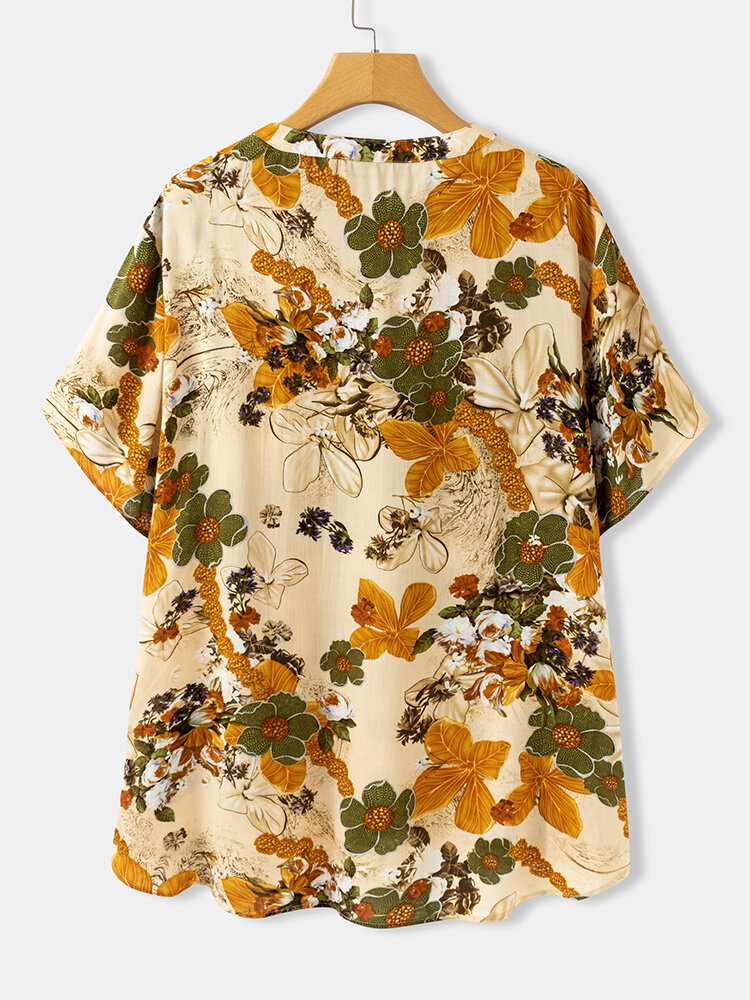 Floral Print Stand Collar Short Sleeve Plus Size Shirt