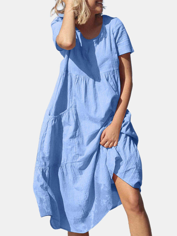 Solid Color Short Sleeve O-neck Casual Dress With Pocket