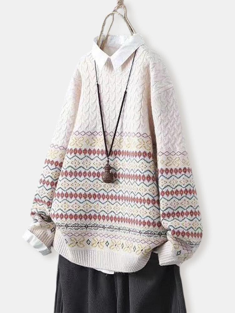 Винтаж Пуловер с этническим жаккардовым принтом, вязаный свитер с длинными рукавами