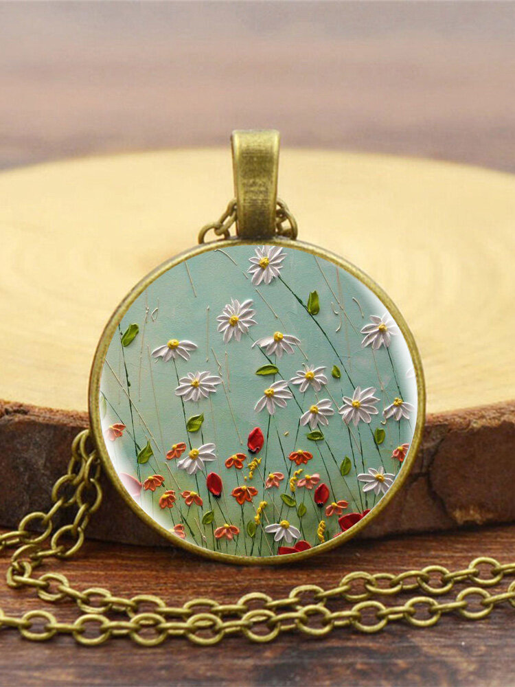 Vintage Glass Printed Women Necklace White Red Floral Pendant Necklace Jewelry Gift