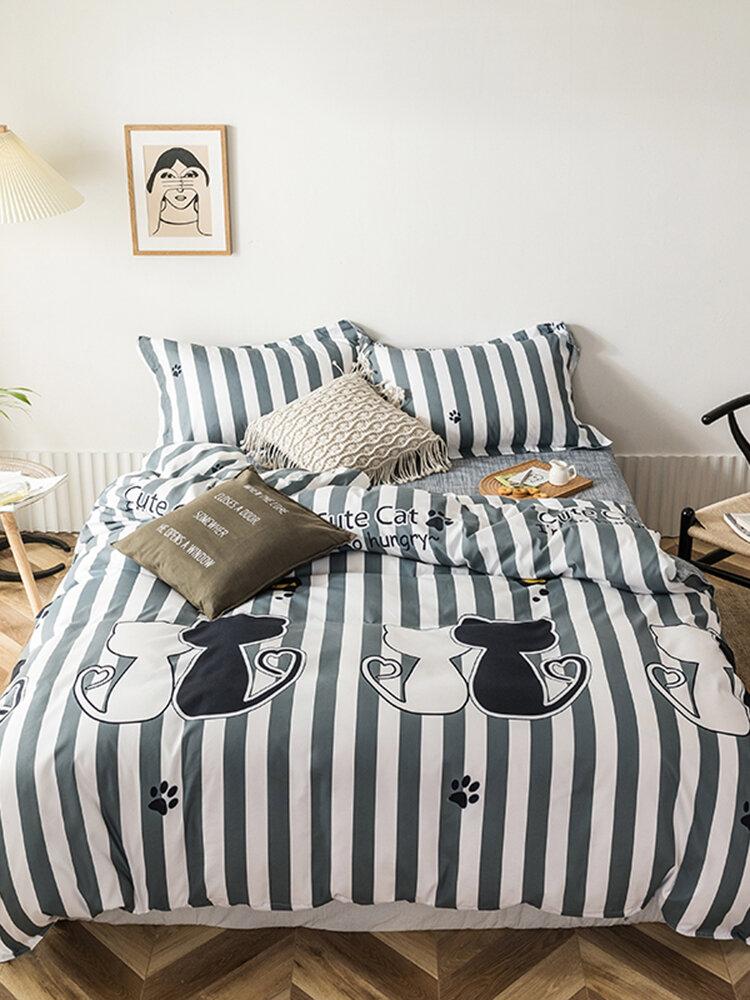 3/4 Pcs Stripe AB Sided Aloe Cotton Bedding Set Comfortable Fabrics Sheet Duvet Cover Pillowcase