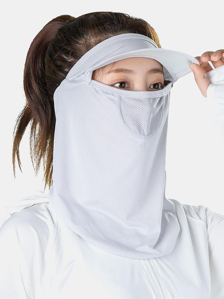 Женский цельный цельный ледяной шелк Шапка с полями на лбу и Шея Защита от солнца на все лицо UV Защита Маска