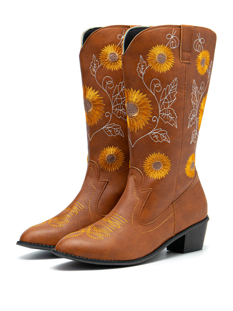Women's Large Size Sunflowers Embroidered Chunky Heel Pointed Toe Mid-Calf Cowboy Boots