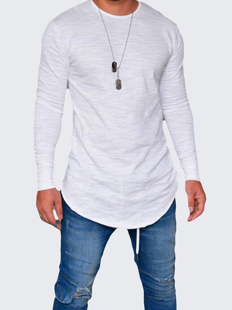 Uomo Casual T-shirt Traspirabile con Orlo Irregolare a Maniche Lunghe in Colore a Tinta Unita