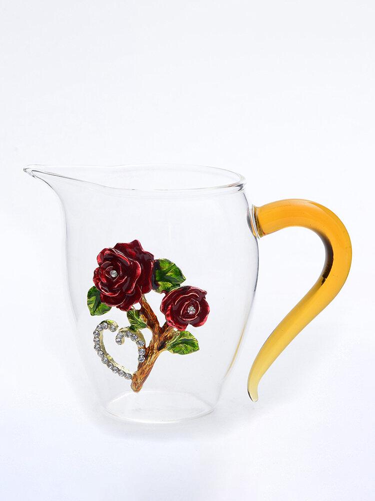 Transparente Emaille Tasse Haushalt Kristallglas Blume Rose Teetasse