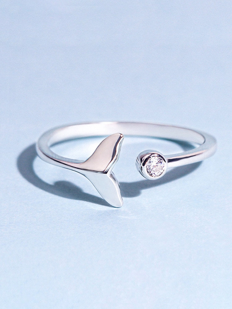 Vintage 925 Sterling Silver Cute Fish Tail Animal Open Ring