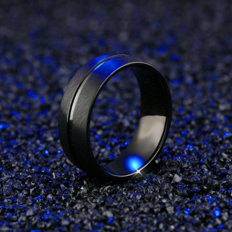 Anello da uomo in titanio da 8 mm con anello nero opaco con fedi nuziali di fidanzamento