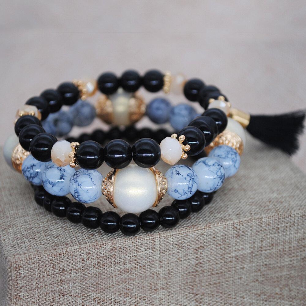Bohemian Cotton Thread Tassel Pendant Bracelet Handmade Beaded Multi-layer Bracelet