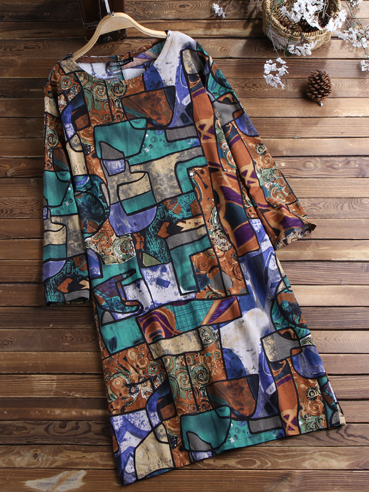 Casual Print O-Neck Long Sleeve Plus Size Dress