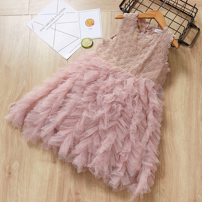 Lace Flower Girls Dresses Sleeveless Princess Dress For 3-11Y