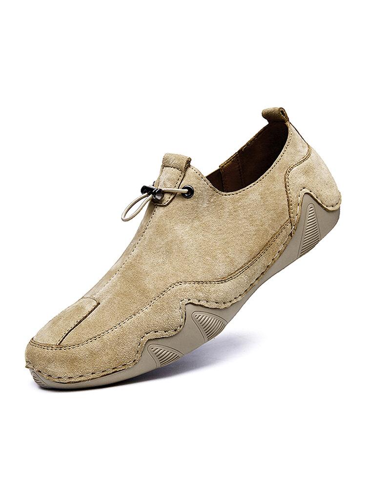 Men Suede Non Slip Elastic Lace Casual Driving Shoes