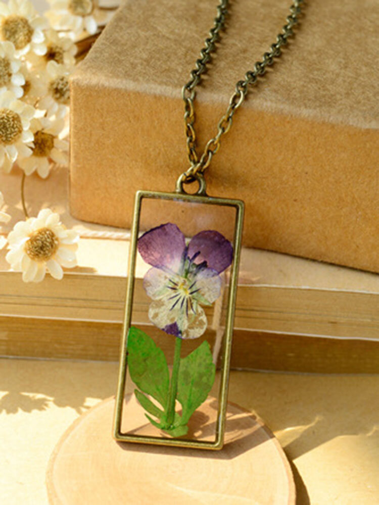 Alloy Pansy Vintage Art Long Dried Flower Floral Necklace