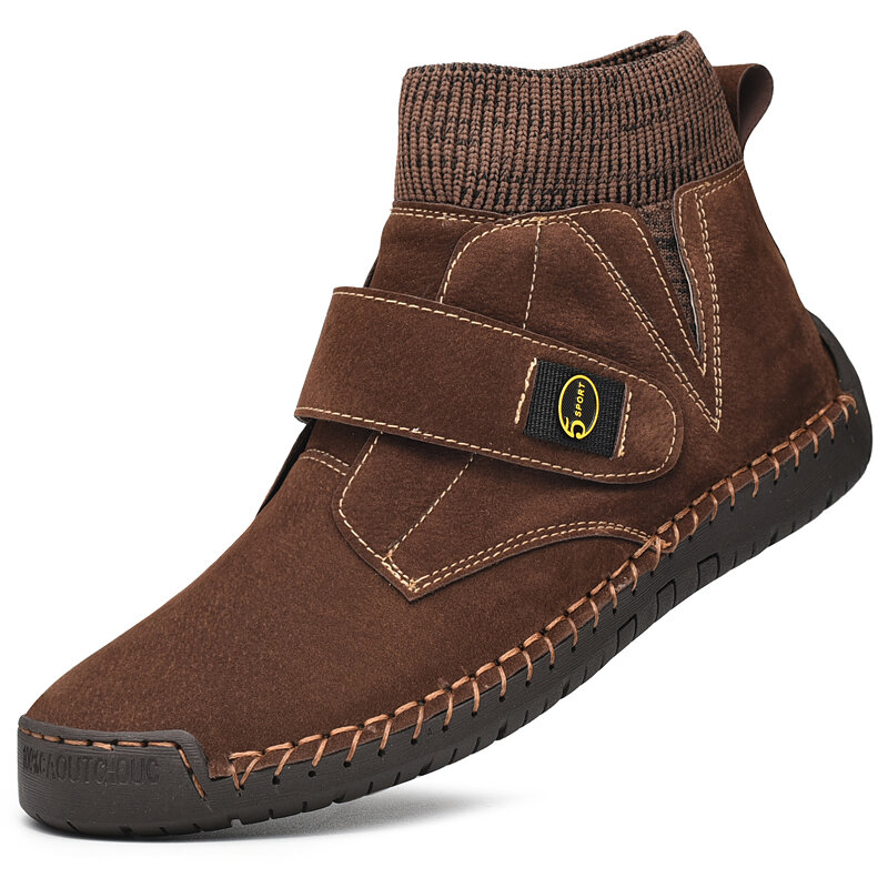 Men Synthetic Suede Splicing Hand Stitching Non Slip Casual Ankle Boots