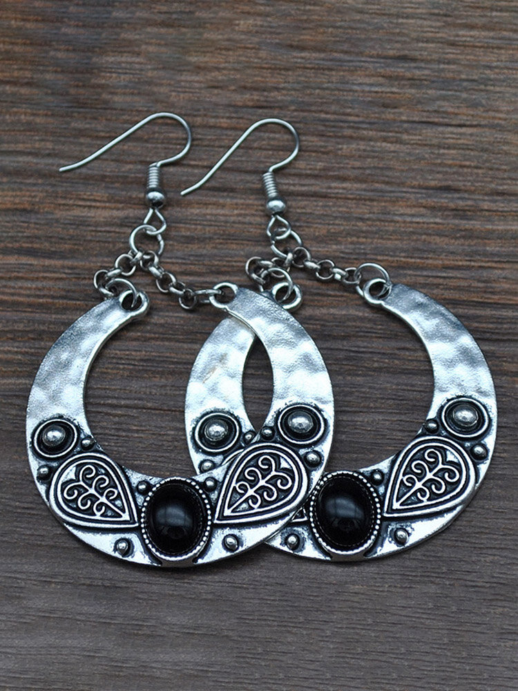 Bohemian Gemstone Earrings Ethnic Silver Plated Carved Large Circle Earrings