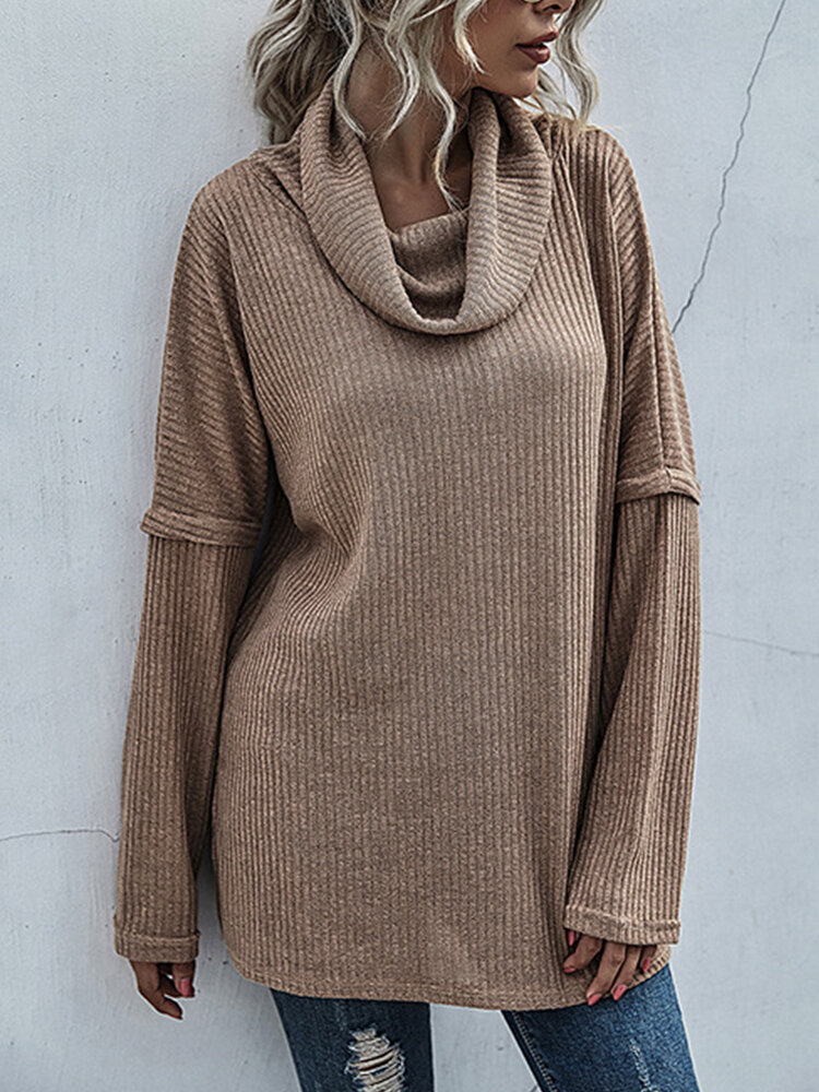 Solid Color Turtleneck Long Sleeves Casual Sweater for Women