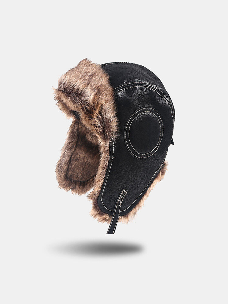 Men PU Plus Velvet Solid Ear Protection Windproof Thicken Cold-proof Trapper Hat