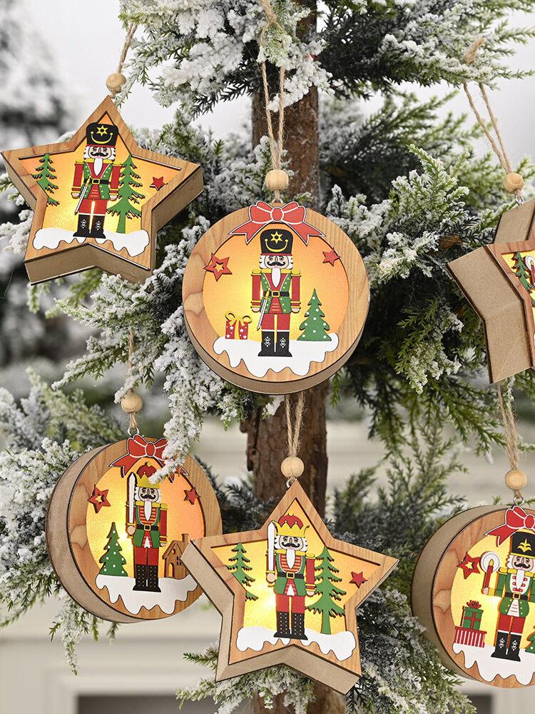 1Pc Christmas Ornament Lighted Wooden Walnut Soldier Pendant Small Tree Pendant Pendant