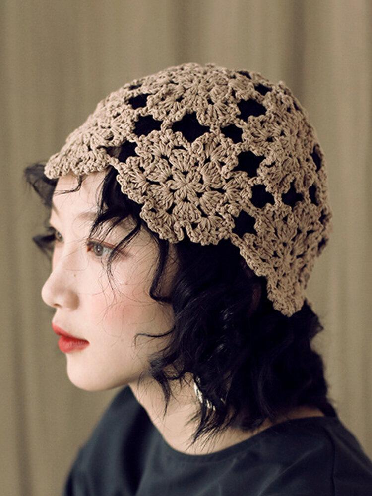 Women Hand-crocheted Beanie Caps Retro Literary Casual Foldable Turban Hat