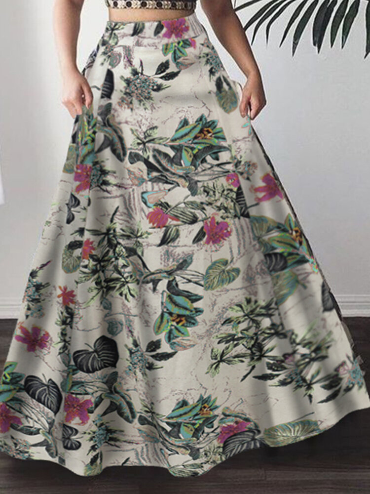 Bohemia Flowers Print Plus Size Skirt