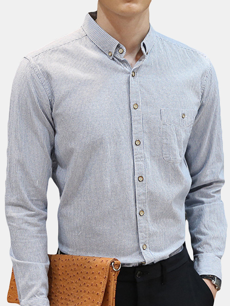 Striped Button Down Business Casual Slim Fit Cotton Dress Shirt for Men