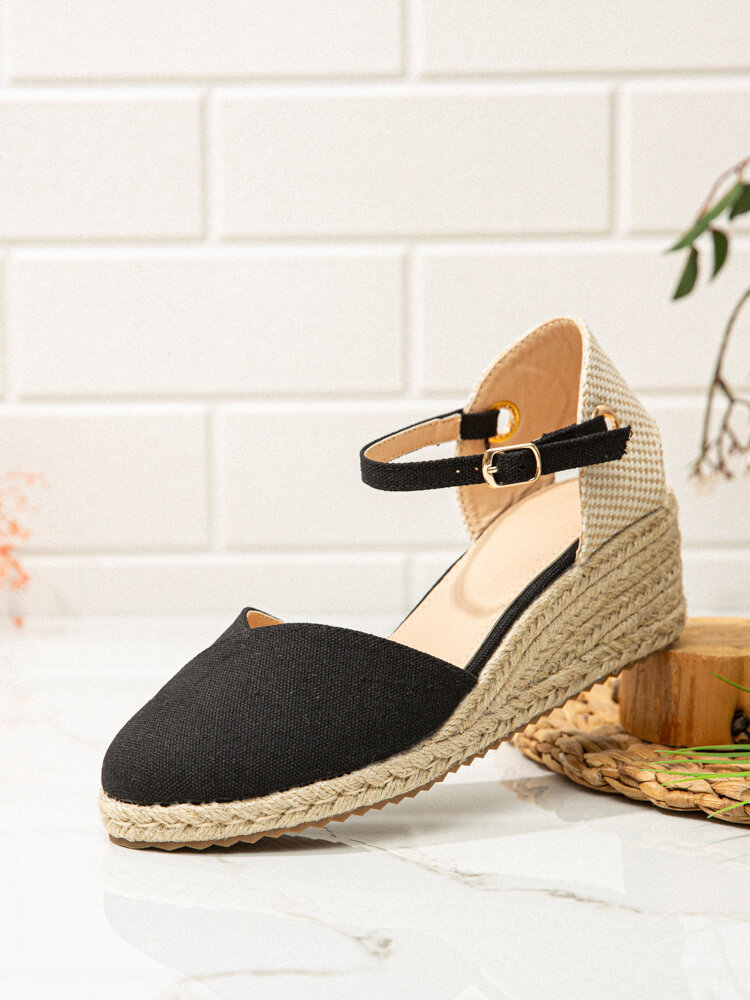 Women Fashion Pointed Toe Buckle Wedges Heels Espadrille Shoes