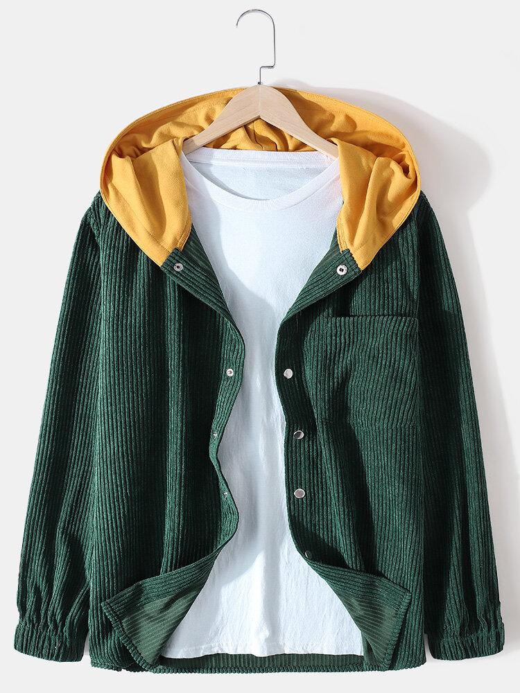 Chaquetas con capucha de puño elástico casual con botón a presión de pana para hombre con bolsillo